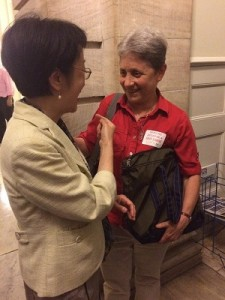 Bobbie Sackman, Director of Public Policy for LiveOn-NY shakes hands with City Council Member Margaret Chin after announcement of the budget deal. Photo Credit: LiveOn-NY